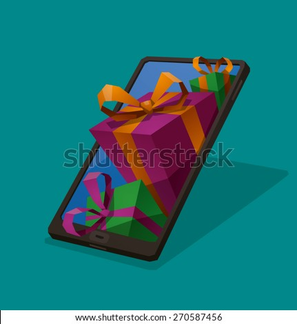 Gifts from smartphone, vector - stock vector