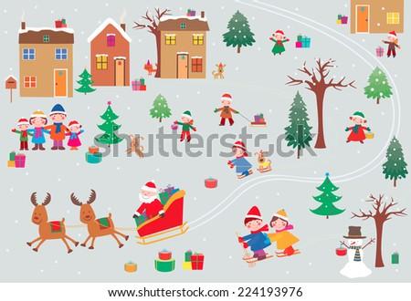 gifts of Santa Claus - stock vector