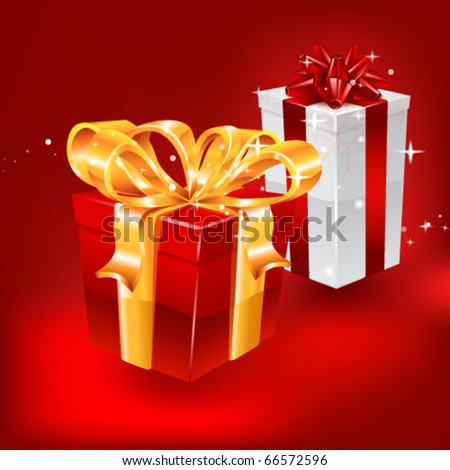Gifts on red background. vector