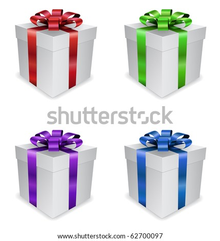 gifts with colored ribbons - stock vector