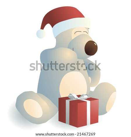 Giggling bear with a red gift box