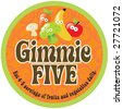 Gimmie Five Promo Sticker/Label with 70s style background - stock vector