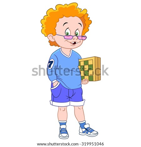 ginger and cute chess player with a chessboard - stock vector