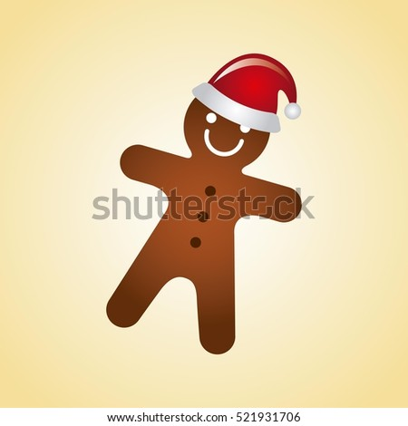 ginger cookie with christmas hat over yellow background. merry christmas design. vector illustration