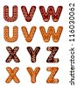 Gingerbread alphabet letters from U to Z for christmas or new year holiday design, such a logo template. Jpeg version also available in gallery - stock vector