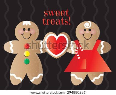 Gingerbread Boy and Gingerbread Girl with Heart Cookie - stock vector
