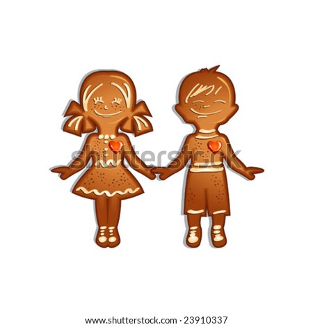 Gingerbread boy and girl cookies, vector illustration - stock vector