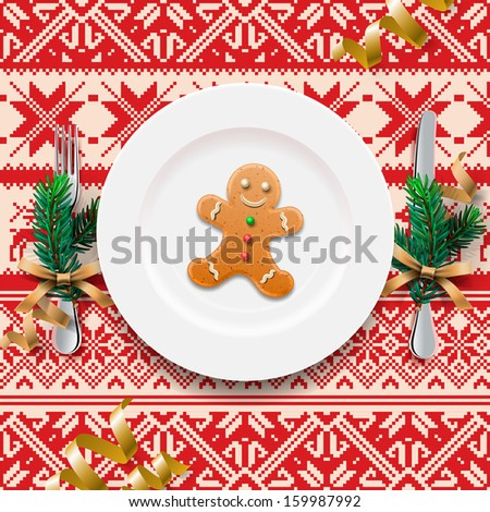 Gingerbread cookie man on the plate, table setting for Christmas dinner, vector illustration.  - stock vector