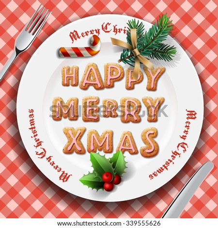 Gingerbread cookie on the plate, table setting for Christmas dinner, vector illustration. - stock vector
