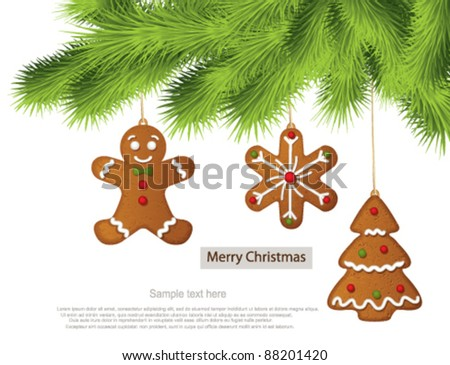 Gingerbread cookies on Christmas tree - stock vector