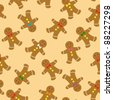 gingerbread cookies seamless pattern - stock vector