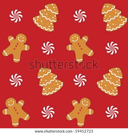 Gingerbread cookies seamless pattern - stock vector