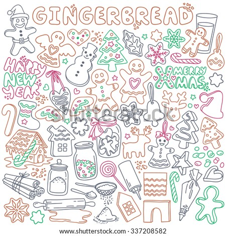 Gingerbread doodles set. Traditional Christmas cookies and ingredients for baking. Various shapes - heart, star, angel, girl and boy, house,snowman, Christmas tree, snowflake. Isolated over white - stock vector