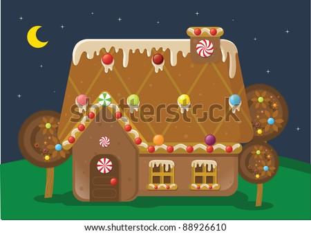 Gingerbread House Cartoon Gingerbread House Vector