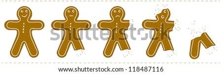 Gingerbread Man Being Eaten - stock vector