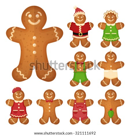 Gingerbread man. Christmas cookie holiday, sweet food, traditional biscuit, vector illustration - stock vector