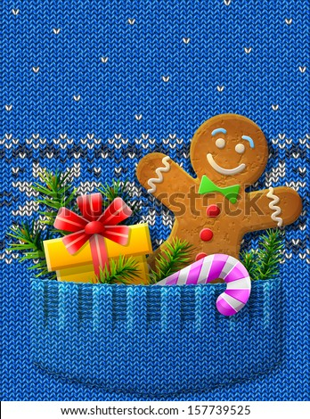 Gingerbread Man Gift Candy Cane Knitted Stock Vector Hd Royalty