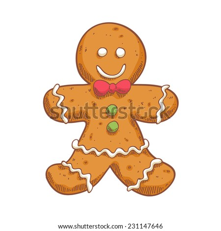 Gingerbread man in sketch style.  Christmas symbol. Sweet cookie.