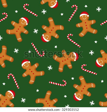 Gingerbread man is decorated in Xmas hat and candy cane on green background. Seamless vector pattern for new year's day, Christmas, winter holiday, cooking, new year's eve. Cute Xmas background. - stock vector