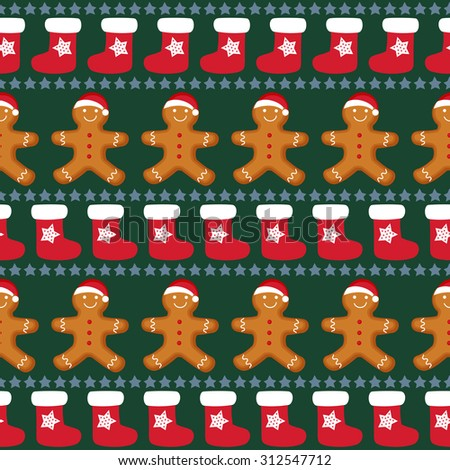 Gingerbread man is decorated in xmas hat with xmas stockings and stars. Seamless Vector pattern for new year's day, christmas, winter holiday, cooking, new year's eve, food, etc. Cute xmas background. - stock vector