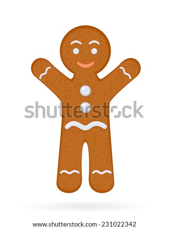 Gingerbread man isolated on white background, illustration. - stock vector