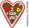 "gingerbread Oktoberfest heart saying ""I love you"" - stock vector"