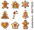 Gingerbread set.Vector - stock photo