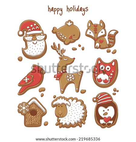 Gingerbread set. Vector