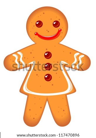 Gingerbread woman isolated on a white background.