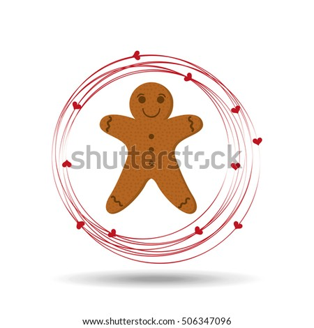 gingerman cookie cartoon happy and hearts vector illustration