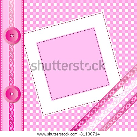 Gingham photo album cover or frame with ribbons and buttons. Scrapbook style EPS10 vector format. Space for your text or image - stock vector