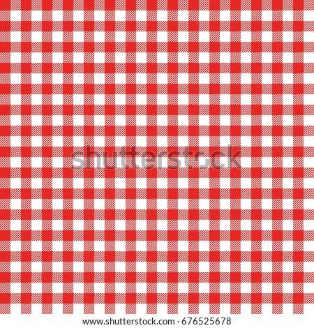 Red Italian Tablecloth. Picnic Tale Cloth Vector.