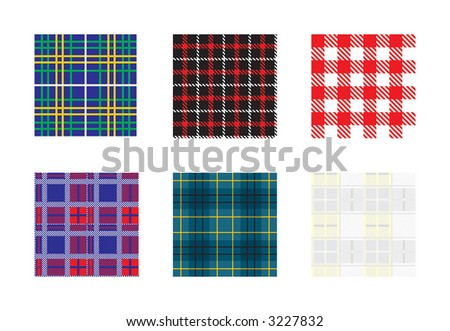 Gingham - six vector patterns on different layers - stock vector