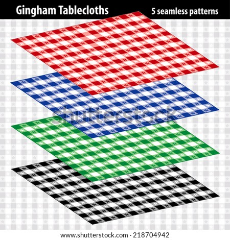 Gingham Tablecloths. EPS8 file includes 5 pattern swatches that will seamlessly fill any shape. For picnics, restaurants, cafes, bistros, home decorating, arts, crafts, scrapbooks and albums.