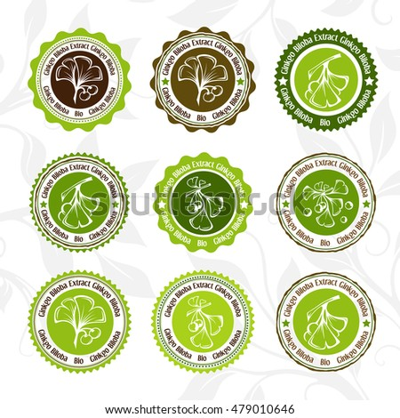 Ginkgo biloba. Circle stamps and stickers set. Vector decorative isolated elements for package design.
