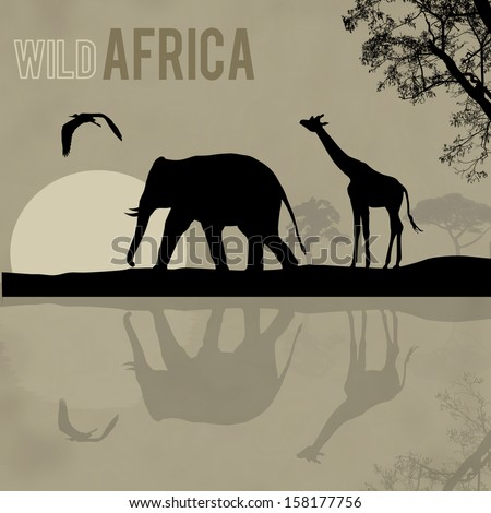 Giraffe and elephant silhouettes in Africa wild nature landscape, vector illustration