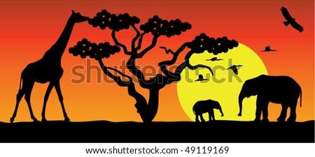 giraffe and elephants in africa - stock vector
