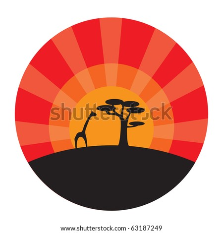 Giraffe and tree at sunset background. Vector illustration - stock vector