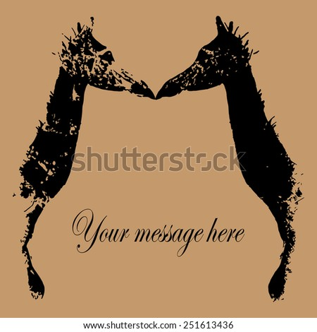 Giraffe Couple In Love, isolated on taupe background. Elegant concept for Miss You, Thinking of You, Waiting for You, Valentine's day cards. Use to create your postcard, labels or your own T-shirt. - stock vector