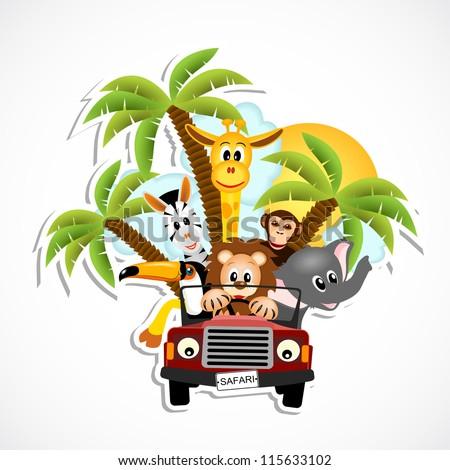 giraffe, elephant, zebra, toucan, monkey and lion driving car - vector illustration - stock vector