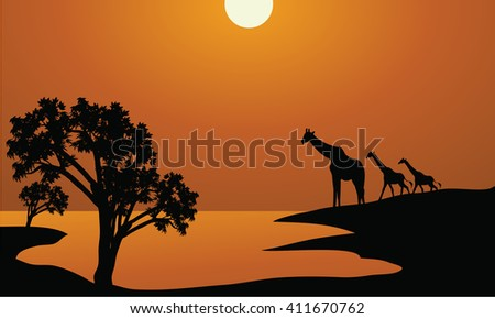 Giraffe family silhouettes in Africa illustration vector - stock vector