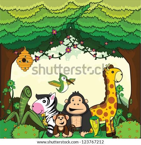 giraffe, gorilla, monkey, zebra, bee, humming bird set scenery forest background - stock vector