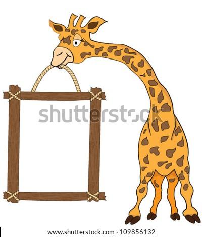Giraffe holding blank advertisement frame isolated on white - stock vector