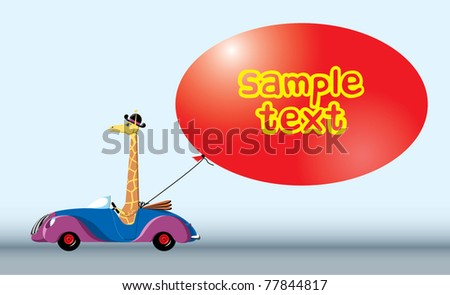 Giraffe in the car with text bubble frame