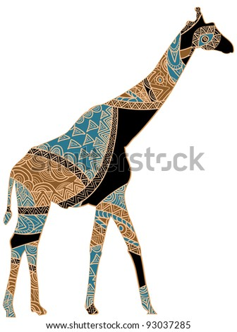 giraffe in the ethnic style on a white background - stock vector