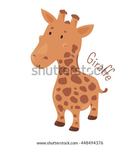 Giraffe isolated. Giraffa camelopardalis. African even-toed ungulate mammal, the tallest terrestrial and largest ruminant. Part of series of cartoon savannah animal species. Child fun icon. Vector - stock vector