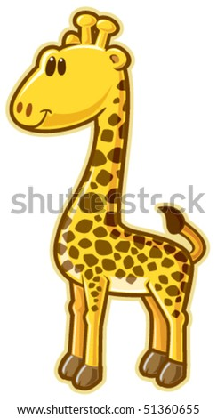 Giraffe. Vector without gradients, great for printing. - stock vector