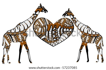 giraffes and heart in ethnic style on a white background - stock vector