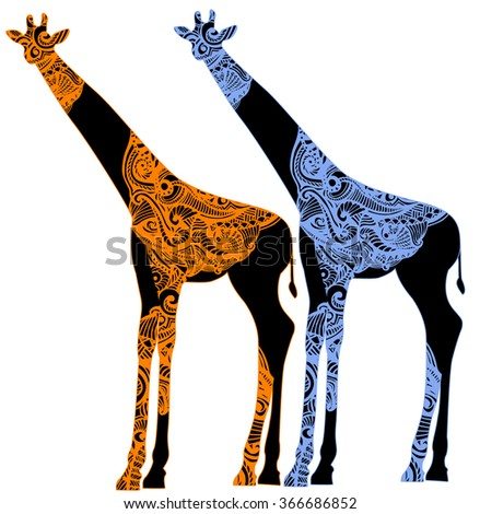 giraffes in ethnic style on a white background - stock vector
