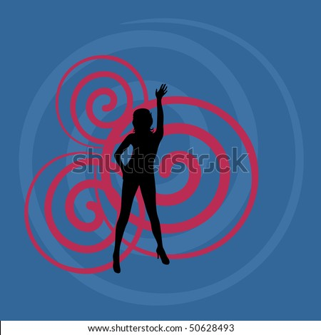 Girl. Abstract blue background